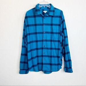 Merona Blue Plaid Flannel Button up shirt XXL